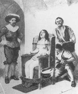 Stivaletto spagnolo (e varianti): Le gambe erano legate insieme e inserite in una sorta di stivale di ferro, che il boia stringeva fino allo spappolamento delle ossa.