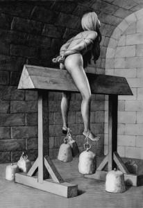 Il cavalletto: l'indiziata veniva posta a cavalcioni di tale strumento sino a far penetrare la punta, o lo spigolo direttamente nelle carni e squassando in modo spesso permanente, gli organi genitali. Quasi sempre poi venivano aggiunti dei pesi alle caviglie e sistemati dei bracieri o delle fiaccole accese sotto ai piedi.