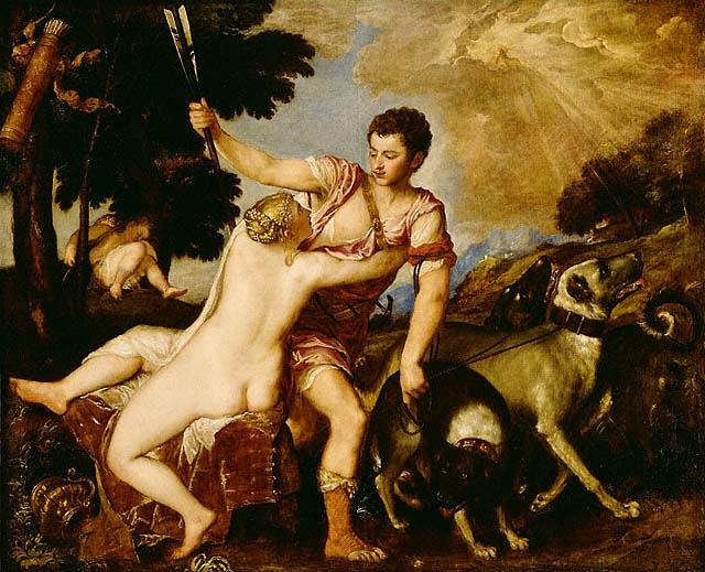 Venere e Adone - 1541. Tiziano Vecellio (Pieve di Cadore ca. 1490 - Venezia 1576)