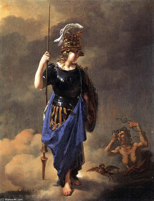 """Pallade Atena Visite Invidia (2)"" Karel Dujardin - olio - 27 x 21 cm - 1652 - (Academy of Fine Arts Vienna (Vienna, Austria))"