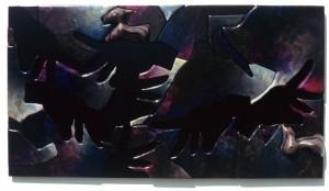 Dario Brevi, Mano d'opera nera, cm 110X60  acrilici, smalti, collage, truciolare e mdf su legno