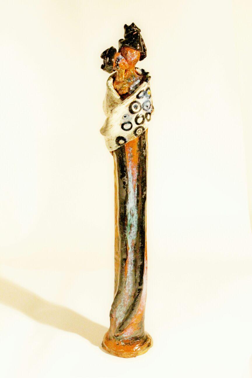 Scultura di donna con due volti, terracotta e cristallina, 2016